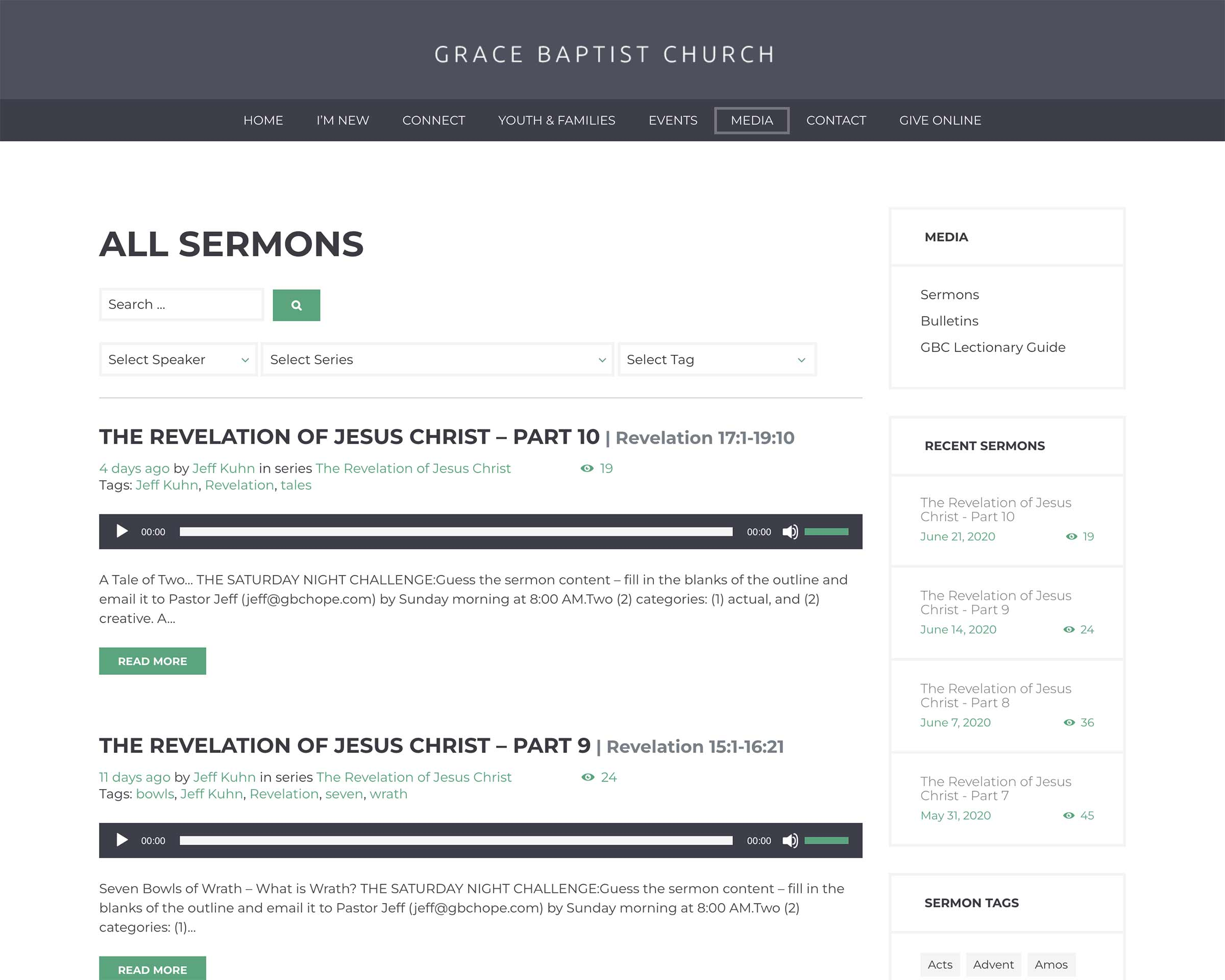 Grace Baptist Church Sermon Archive Web Development