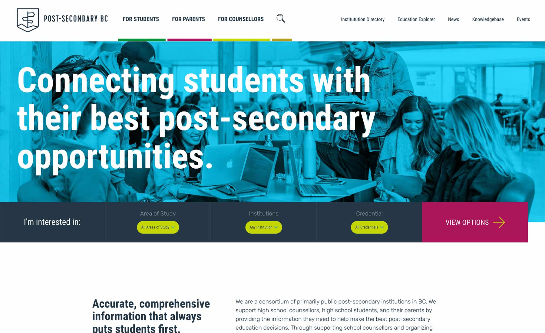 Post-Secondary BC Website Desktop Preview